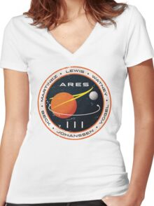 ARES 3 Mission Patch - The Martian Women's Fitted V-Neck T-Shirt