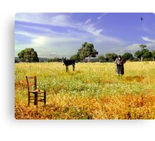 Lady in field Canvas Print