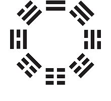 I Ching, Symbol, Chinese, China, Book of Changes, Black on White by TOM HILL - Designer