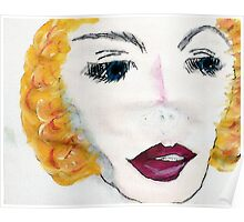 Blonde Beauty, watercolor Poster