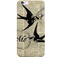 Swallows In Love,Flying birds Vintage Dictionary Art Collage iPhone Case/Skin