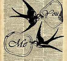 Swallows In Love,Flying birds Vintage Dictionary Art Collage by DictionaryArt