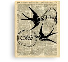 Swallows In Love,Flying birds Vintage Dictionary Art Collage Canvas Print