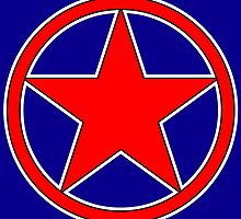 RED STAR, CIRCLE, BADGE, Stardom, Power to the people! Red Dwarf, Stellar, Cosmic by TOM HILL - Designer