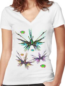 Lionfish Psychedelic Parade Women's Fitted V-Neck T-Shirt