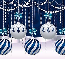 Blue and White Xmas Balls 4 by AnnArtshock