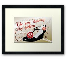 Retro advertisement for shoe fashion Framed Print