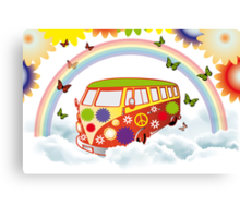 Flower power - Retro van illustration Canvas Print