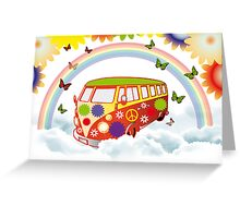 Flower power - Retro van illustration Greeting Card