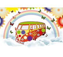 Flower power - Retro van illustration Photographic Print