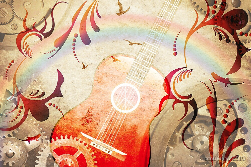 Retro guitar background by schtroumpf2510