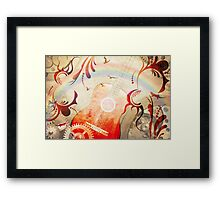Retro guitar background Framed Print