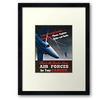 Army Air Force Recruiting Enlistment Poster ~ Vintage Jet Fighter ~ 0515 Framed Print