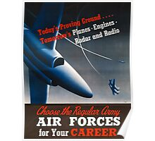Army Air Force Recruiting Enlistment Poster ~ Vintage Jet Fighter ~ 0515 Poster
