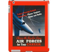 Army Air Force Recruiting Enlistment Poster ~ Vintage Jet Fighter ~ 0515 iPad Case/Skin