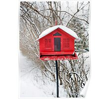 Red Birdhouse Poster