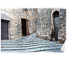 Stairway to Piazza-Massa Marittima, Italy Poster