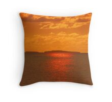 Island in the sun - golden painted by sunset Throw Pillow