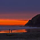 Sunset on the Beach by haybales
