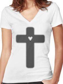 grey Judas cross (lady Gaga) Women's Fitted V-Neck T-Shirt