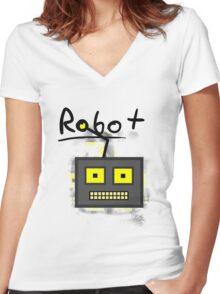 ROBOT Women's Fitted V-Neck T-Shirt