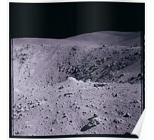 Apollo Archive 0114 Moon Crater and Debris Field on Lunar Surface Poster
