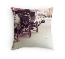 Draft Horse and Carriage Throw Pillow