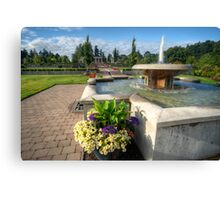 Water Fountain & Floral Decoration Canvas Print