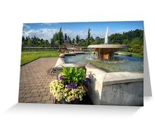 Water Fountain & Floral Decoration Greeting Card