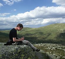 Tim Breeze on the Summit of Carn Bannoch by photobymdavey