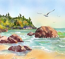 Morning at the Beach by Joan A Hamilton