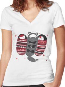 Sleeping-bag Monster Women's Fitted V-Neck T-Shirt