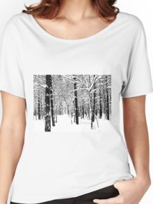 Black and White Winter Forest Women's Relaxed Fit T-Shirt