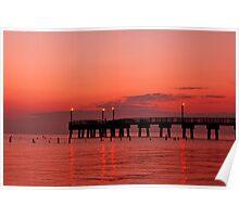 Fishing Pier Morning Poster