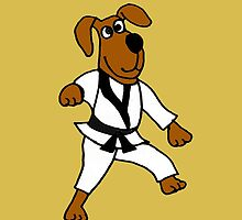Funny Brown Puppy Dog Doing Karate by naturesfancy