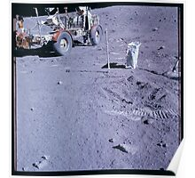 Apollo Archive 0120 Moon Footprints and Lunar Rover on Surface Poster