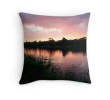Pink Sunset over the Barwon Throw Pillow