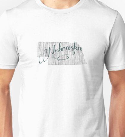 Nebraska State Typography Unisex T-Shirt