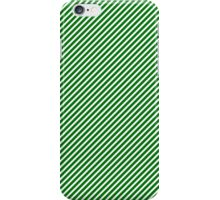Christmas Green & White Micro Diagonal Candy Cane Stripe iPhone Case/Skin