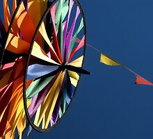 Rainbow Pinwheel Windmill & Flags by waddleudo