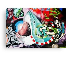 Catching a Shark Street Art Canvas Print