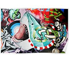 Catching a Shark Street Art Poster