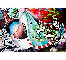 Catching a Shark Street Art Photographic Print
