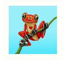 Red Day of the Dead Sugar Skull Tree Frog Art Print