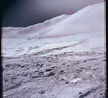 Apollo Archive 0090 Moon Lunar Rover Tracks on Surface with Mountains by wetdryvac