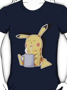 Pikachu relaxes with hot drink T-Shirt