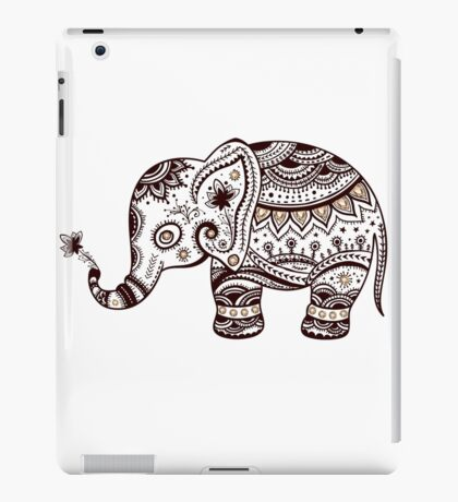 Cute Brown Tones Floral ElephantElephant iPad Case/Skin