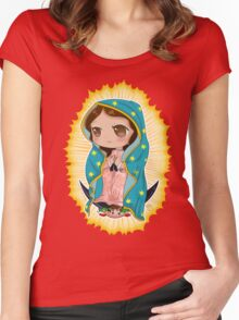 Chibi Our Lady of Guadalupe Women's Fitted Scoop T-Shirt