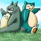 Totoro&#x27;s neighbour, Snorlax by ady-182