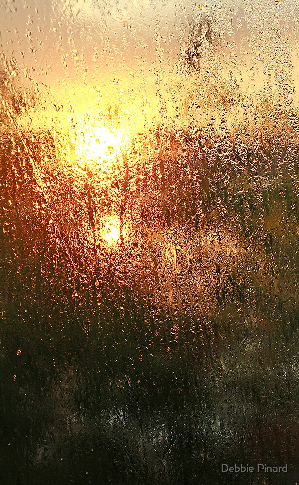 Sunrise on the Ottawa Through a Wet Pane by Debbie Pinard